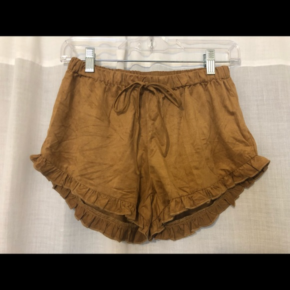 Cotton Candy Pants - Brown suede shorts
